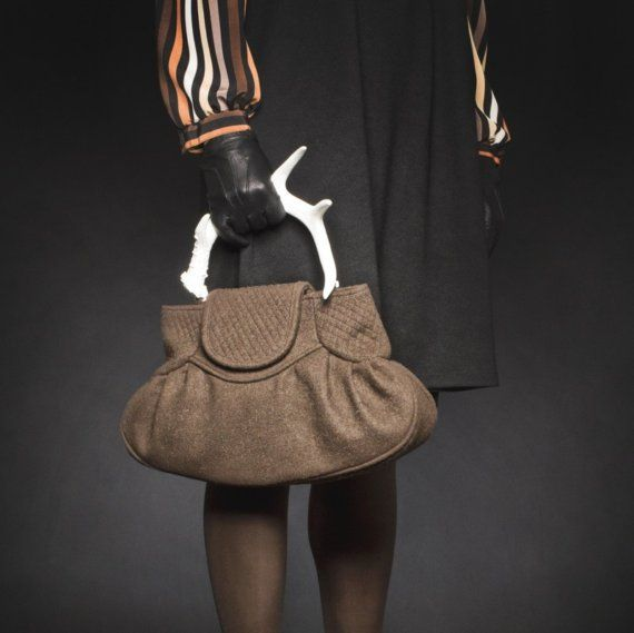 Brown Felt Wool Handbag With A Replica White Deer Antler Horn Handle Definitely Piece Of Art