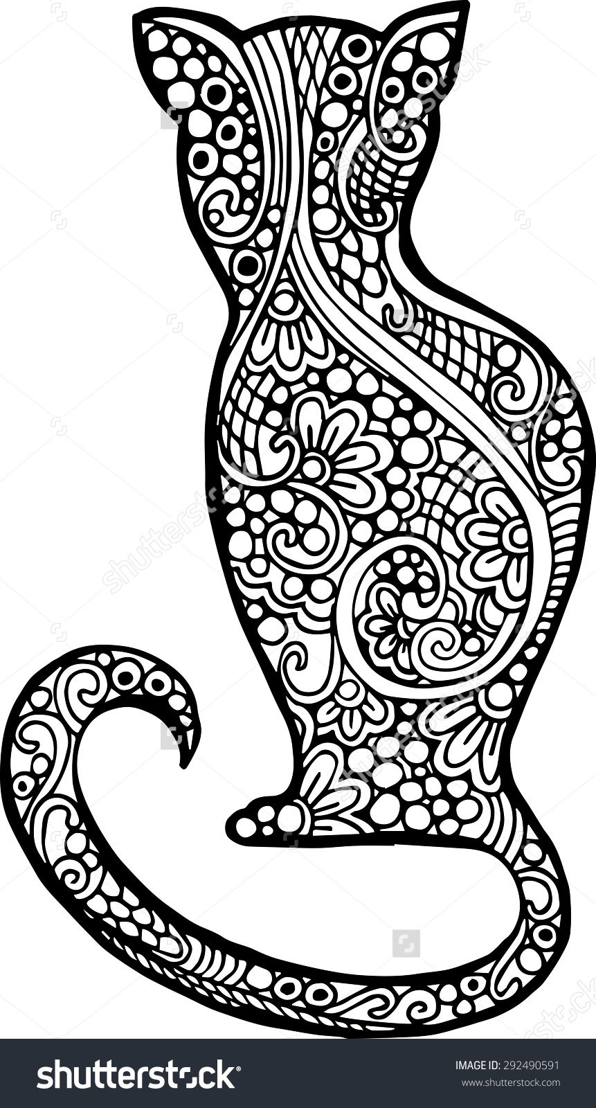 Abstract Doodle Cat coloring page | Cats + Dogs Coloring Pages for ...
