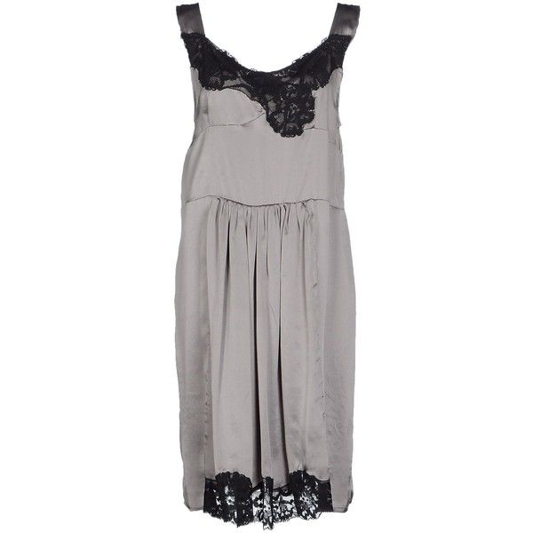 Twin-set Simona Barbieri Short Dress ($105) ❤ liked on Polyvore featuring dresses, grey, sequin cocktail dresses, pleated mini dress, grey sequin dress, short dresses and short grey dress