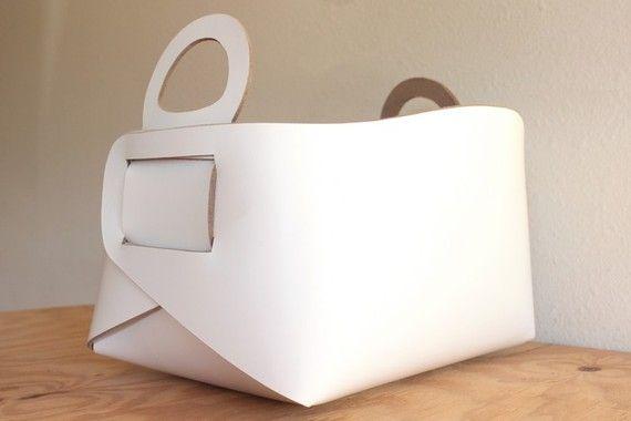 White leather storage tote
