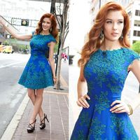 new arrival Elegant A Line short Appliques Beaded Short royal blue dress evening vestido de gala-129$