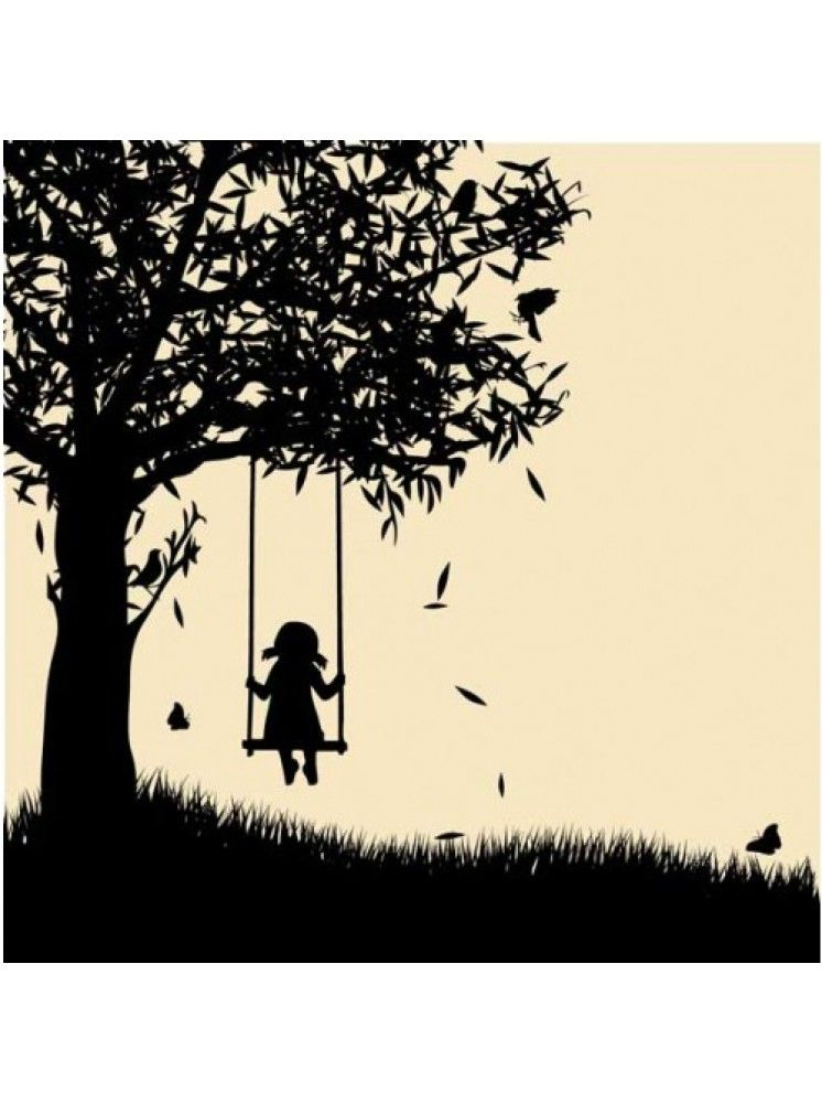 Silhouette Girl Tree S...