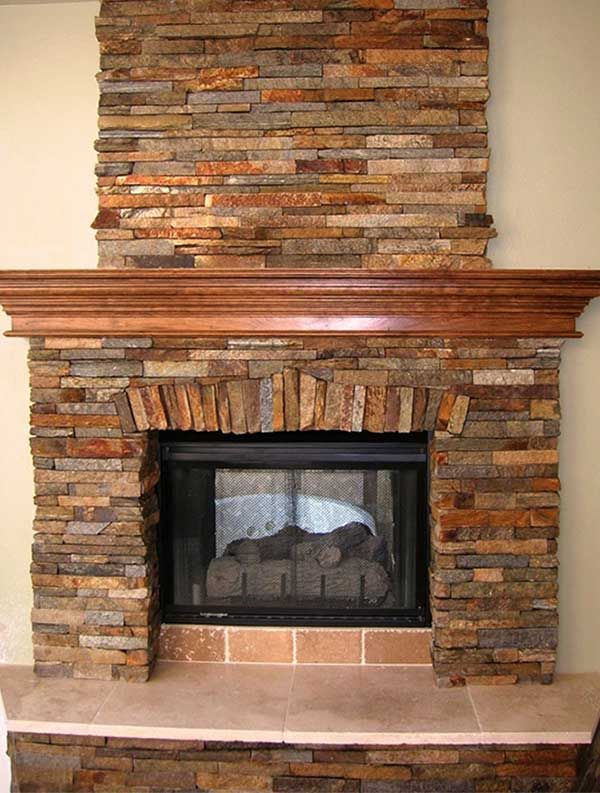Stone Fireplace with Stone Hearth | dream build ...