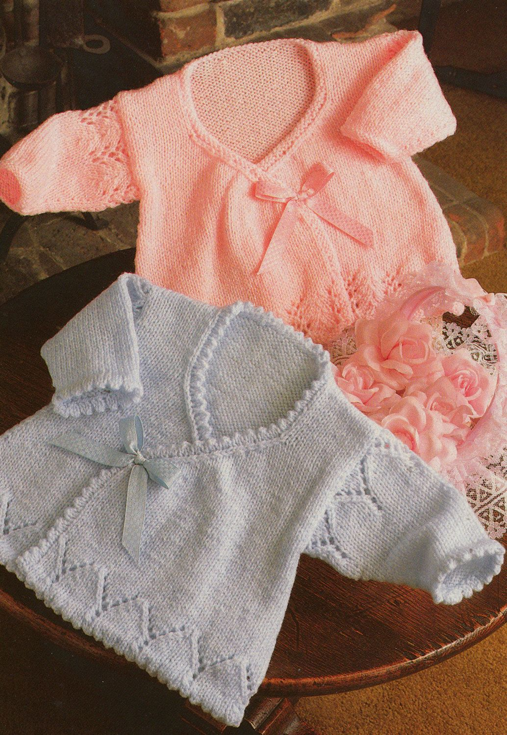 knitting pattern PDF for baby girls wrap cardigans in sizes 14 16 ...