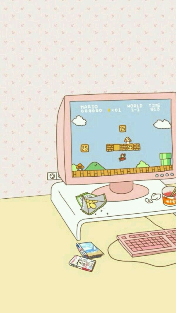 Playing Minecraft Kawaii Wallpaper Cute Wallpapers Aesthetic
