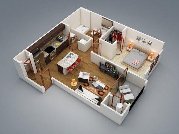 50 Plans en 3D d\u0027appartement avec 1 chambres Plan gratuit, 3d et - plan d une maison en 3d