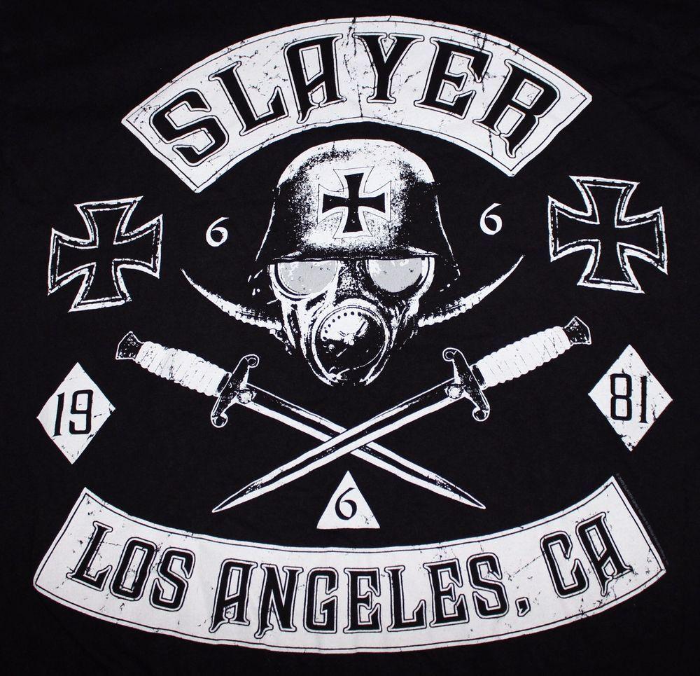 Slayer Shirt Los Angeles Large  Skull Heavy Thrash Metal Tribe - Los angeles poster black and white