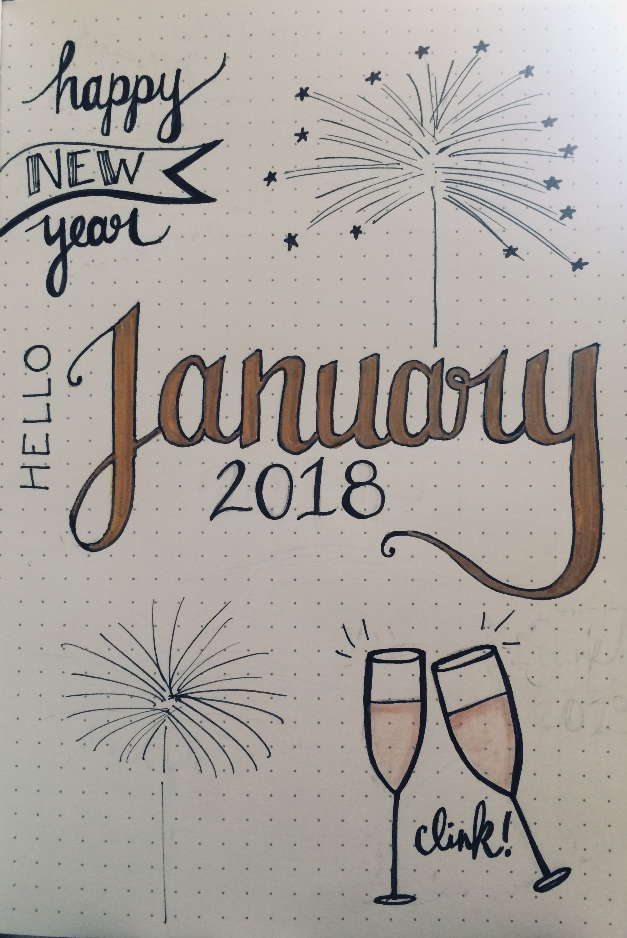 My January cover page. I drew inspiration from several different sources and I love the end result! #bulletjournal #january #happynewyear