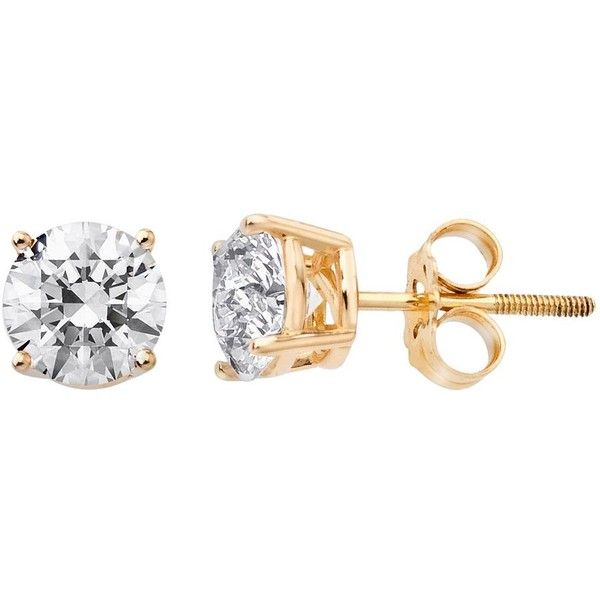 14k Gold 3 4 Ct T W Round Cut Igi Certified Diamond Stud Earrings Found On Polyvore