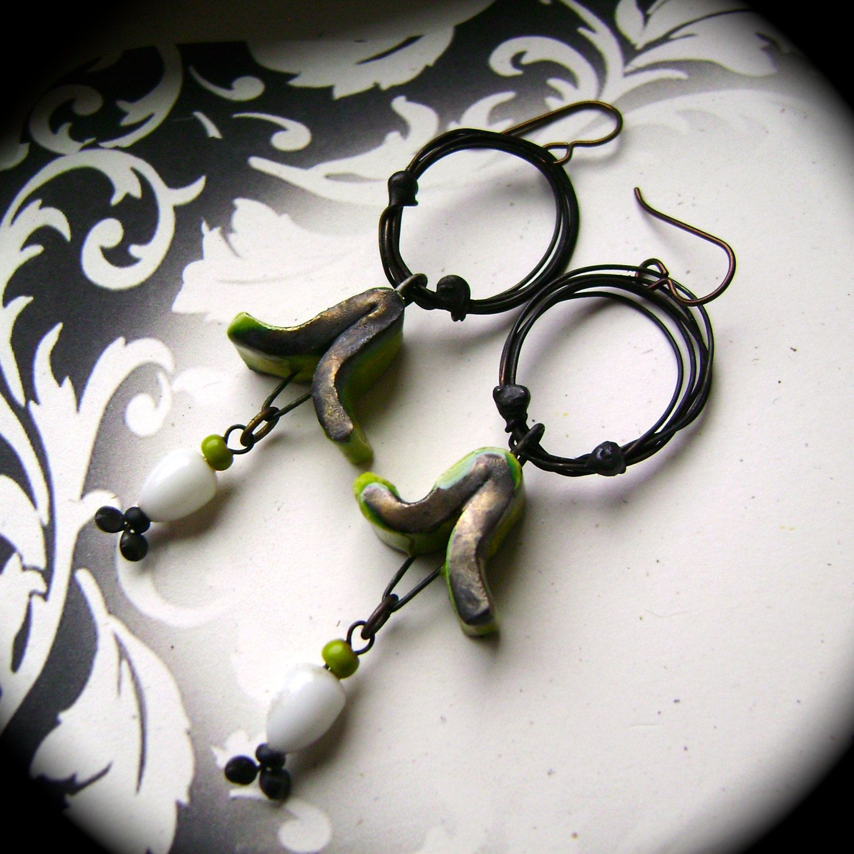 assemblage earrings mixed media earrings rustic tribal lime green white ScorchedEarth unique ooak wire hoop earrings AnvilArtifacts (44.00 USD) by anvilartifacts - handmade - jewelry - jewellery - artisan - etsy