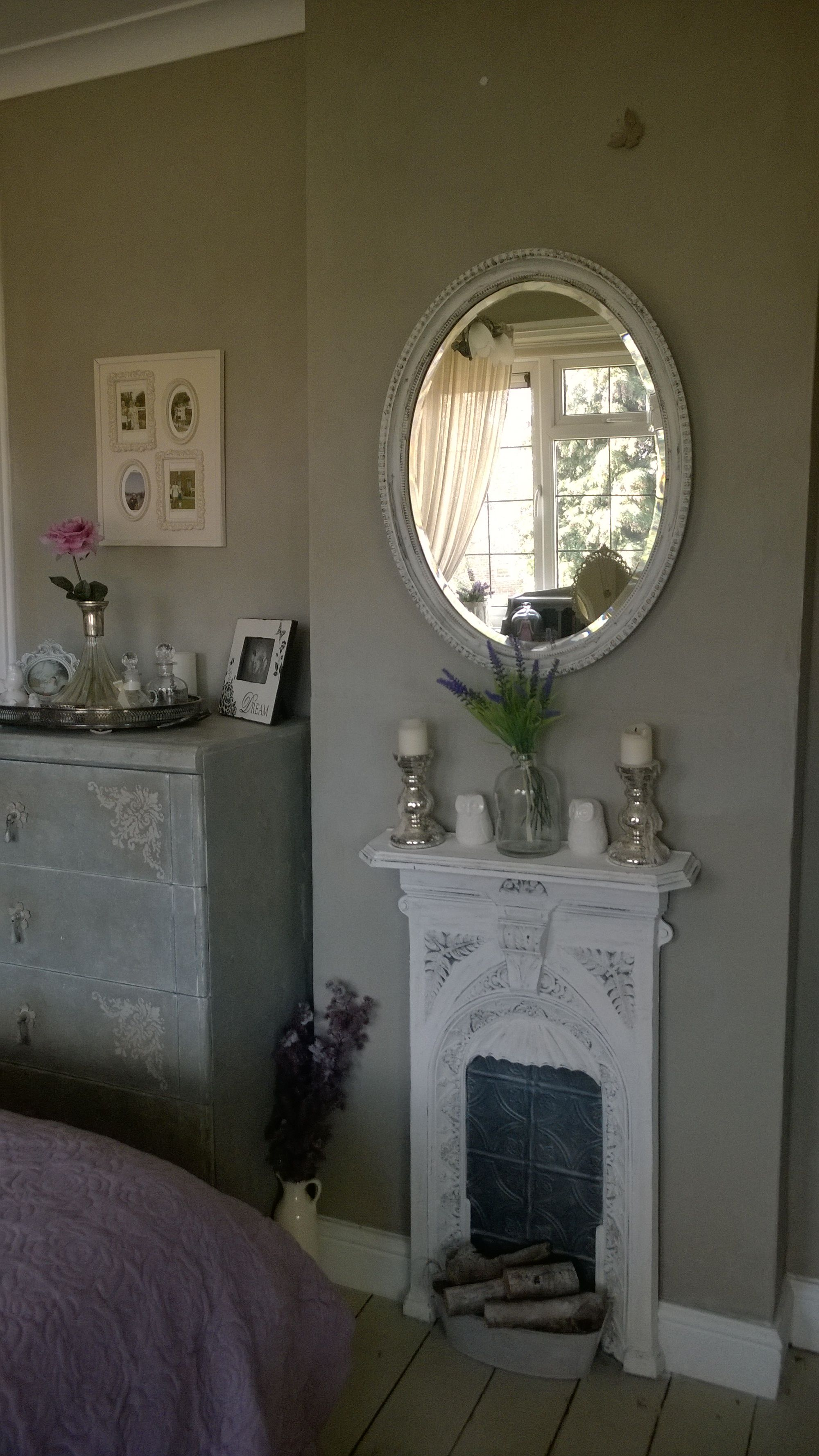 Great Idea To Use Tin To Fill In Fp Opening When Flush To Wall. Painted  Cast Iron Fireplace!