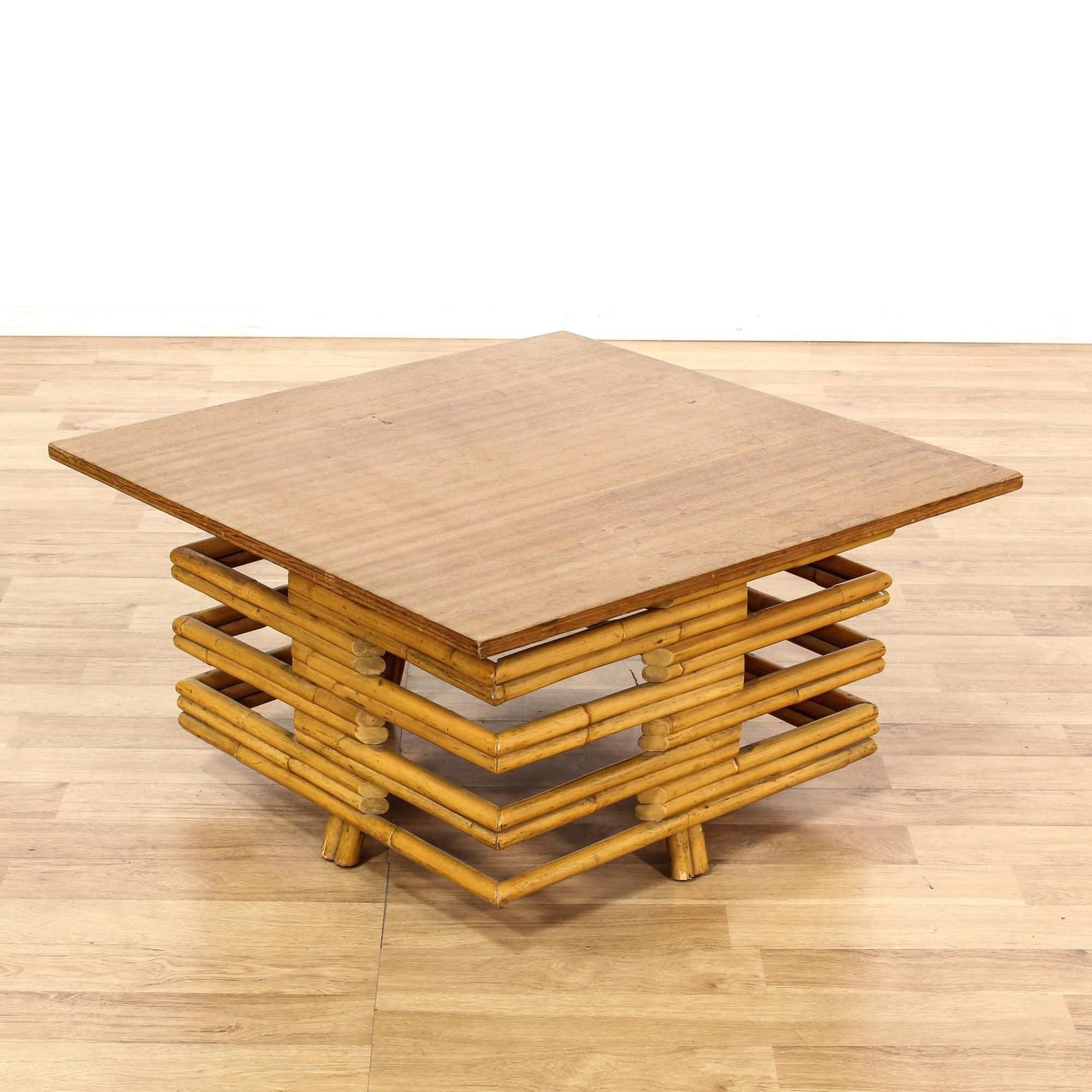 Bohemian bamboo base coffee table wood table tops living rooms bohemian bamboo base coffee table geotapseo Gallery