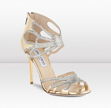 Jimmy Choo | Melody | Champagne Glitter Fabric and Mirror Leather Sandals |  JIMMYCHOO.COM