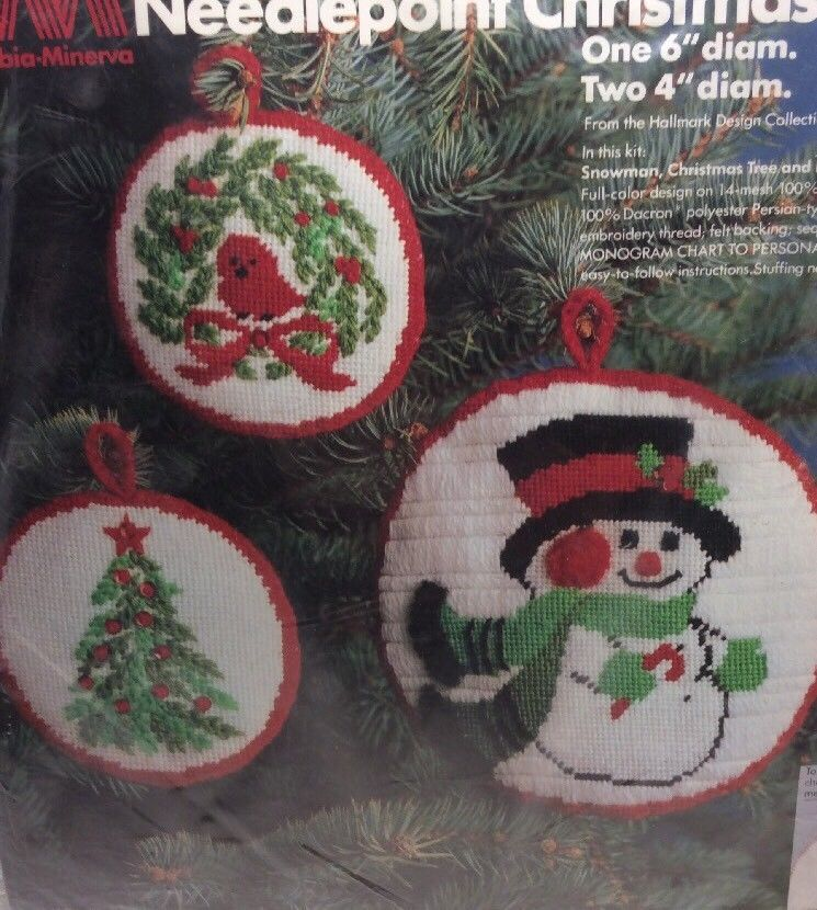 Columbia Christmas Tree: Columbia Minerva Vtg Needlepoint Christmas Ornament Kit