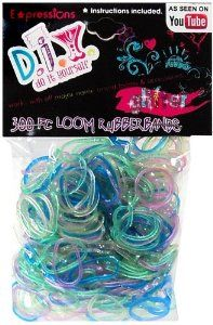 Loom Rubber Bands - 100/% Latex Free 1800 Pc Glitter Rubber Band Mega Value Refill Pack with Clips 300 Each of 6 Different Glitter Colors