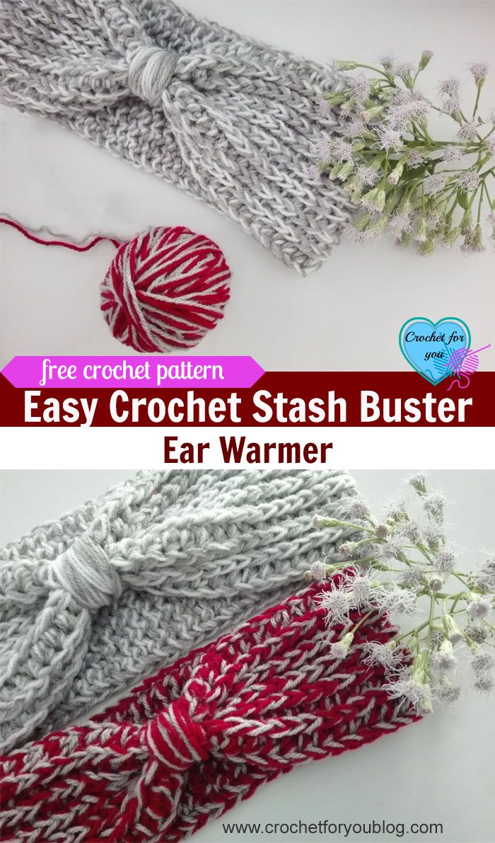 Easy Crochet Stash Buster Ear Warmer Free Pattern | Easy crochet ...