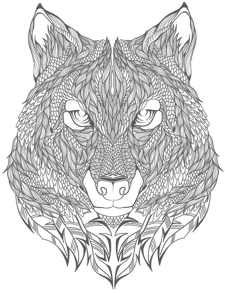 Раскраски для взрослых - волк | Раскраски, Собачье ...