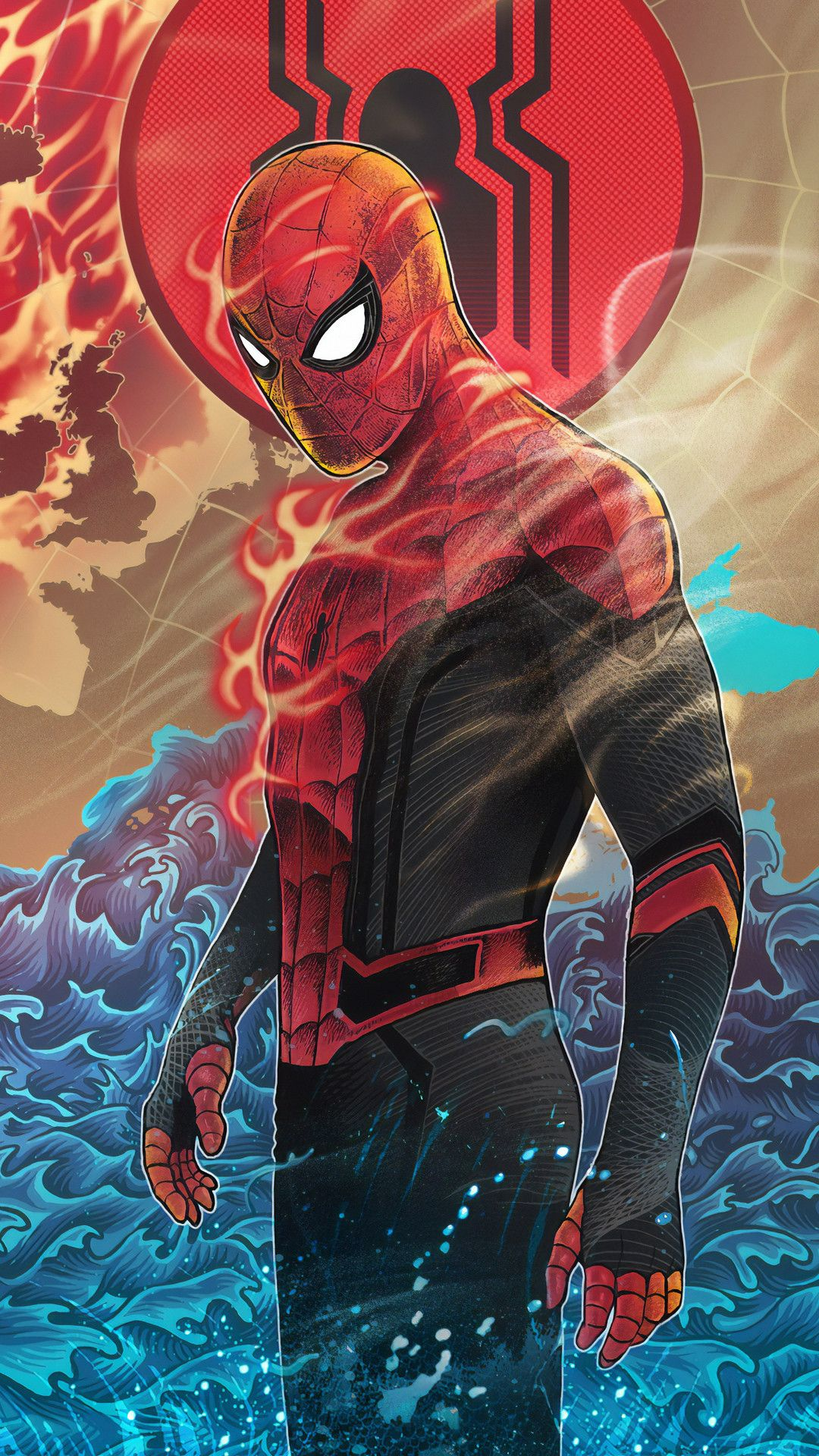 Spiderman Flame Mobile Wallpaper (iPhone, Android, Samsung