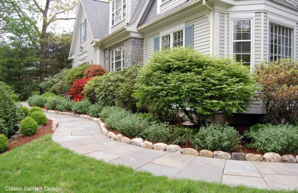 Front garden foundation planting guilford ct classic for Foundation planting plans
