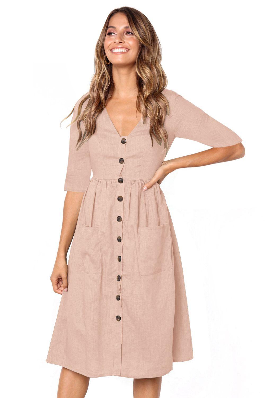 Pink Button Front Midi Dress With Pockets Midi Short Sleeve Dress Mid Dresses Short Sleeve Dresses [ 1500 x 1000 Pixel ]