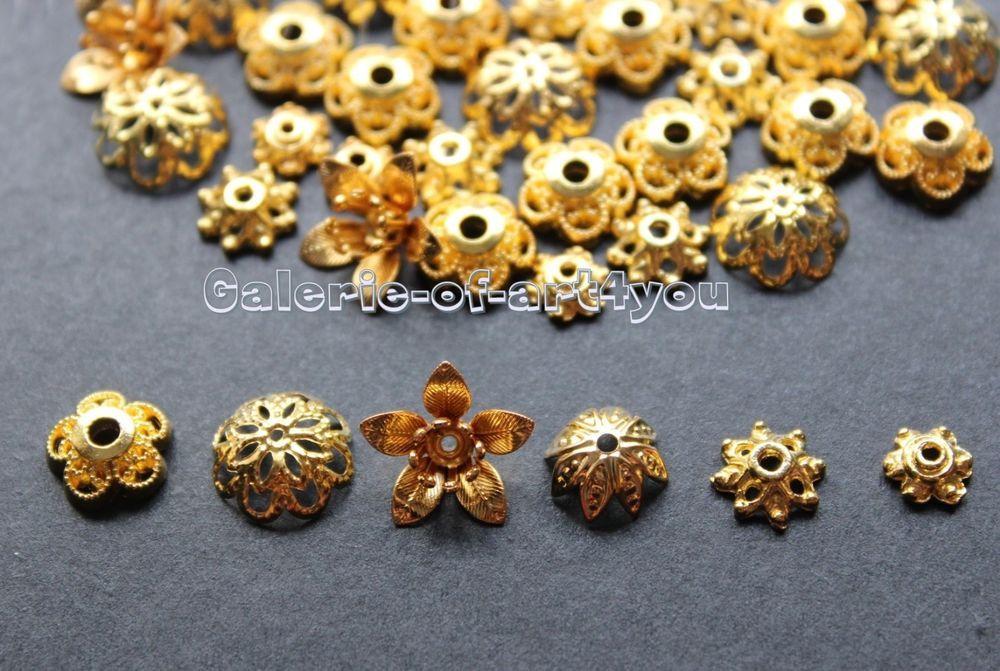 6 mm 100 Perlkappen in goldfarben