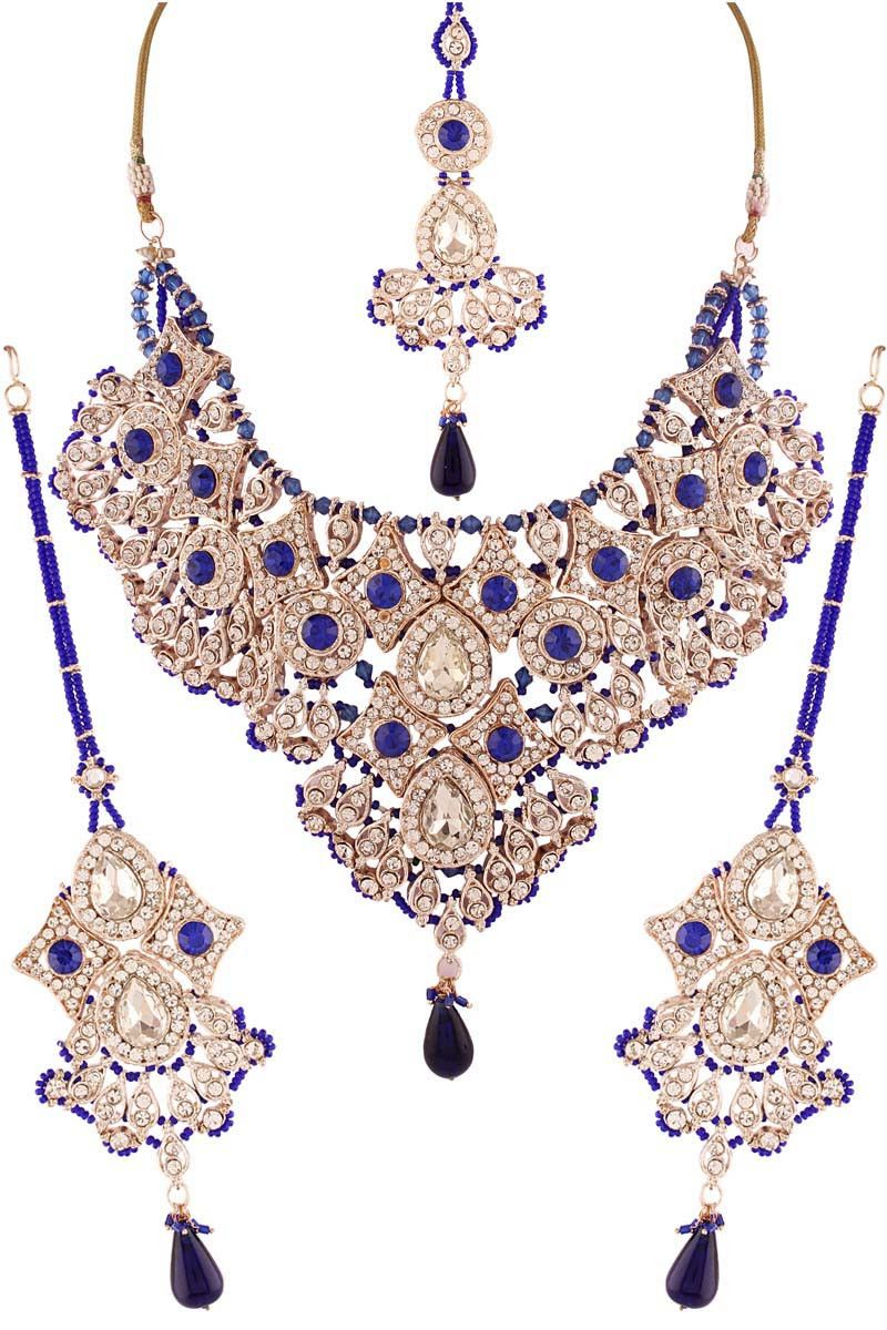 Blue silver plated austrian diamond necklace set necklaces on