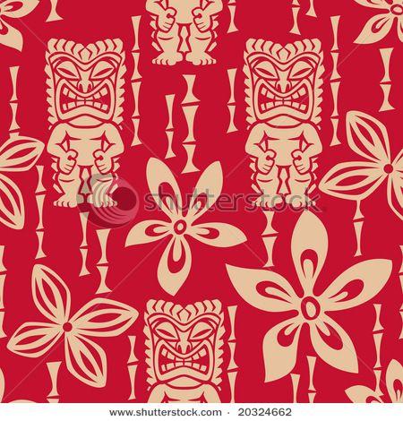 Red Tiki Fabric Reminds Me Of Spongebob Johnny Tahitian Tiki