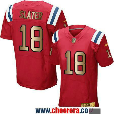 9b44546dd Men s New England Patriots  18 Matthew Slater Red With Gold Stitched NFL Nike  Elite Jersey