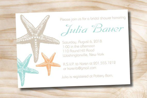 Starfish Elegance Bridal Shower Baby Destination Wedding Invitation Printable Digital File