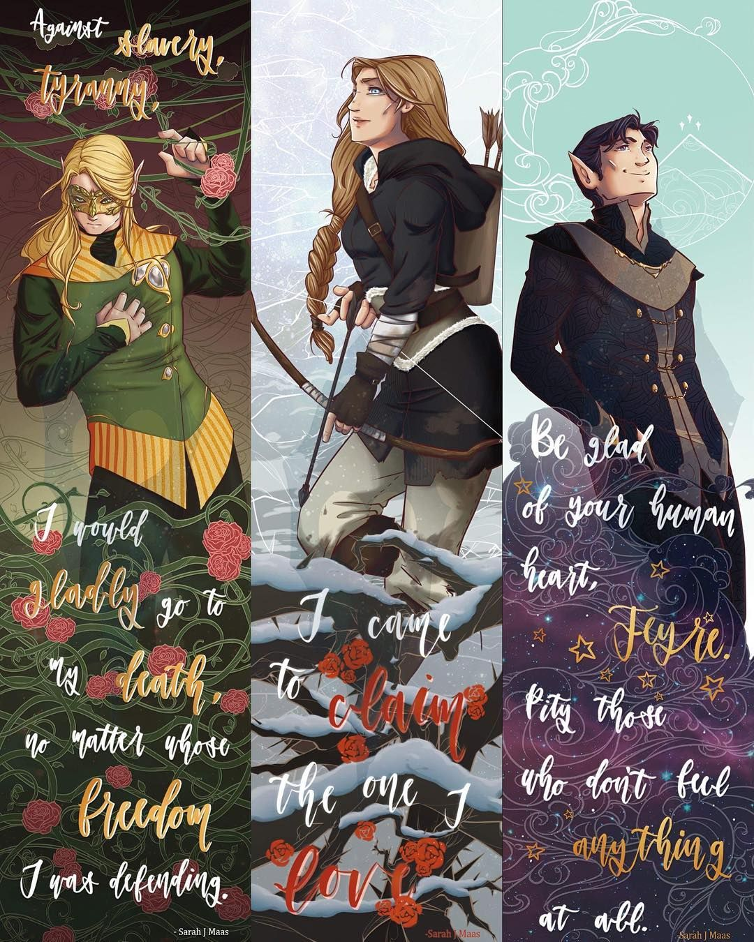 "Kira Dennis on Instagram: ""DONE! I struggled with Feyre's bookmark for a while, but I'm really proud of it now! These bookmarks are the first in a long list of…"""