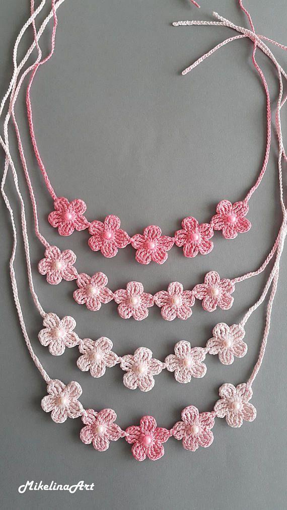 Crochet Necklace,Crochet Neck Accessory,Hot Pink, 100% Cotton ...