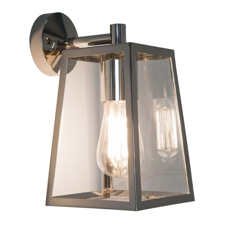 Astro Calvi Outdoor Hanging Lantern Wall Light Polished Nickel