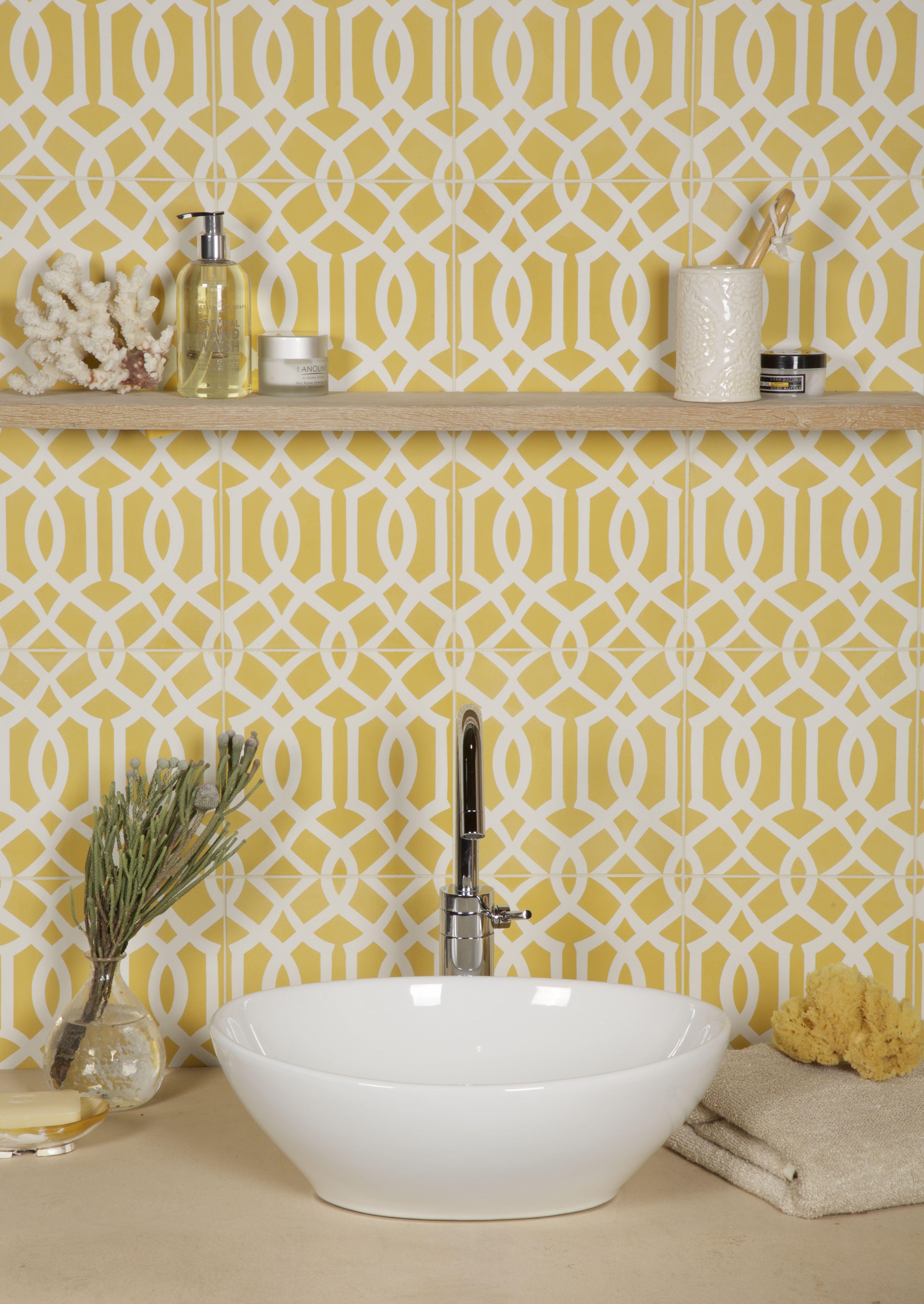 Lattice Pattern - Sulphur, 20 x 20 x 1.6 cm Cheerful yellow ...