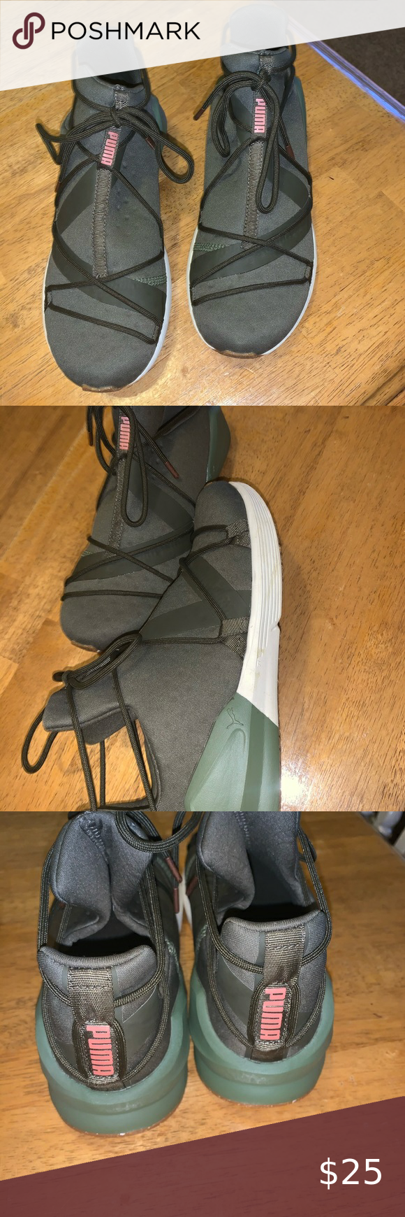 Olive green Puma sneakers with rose
