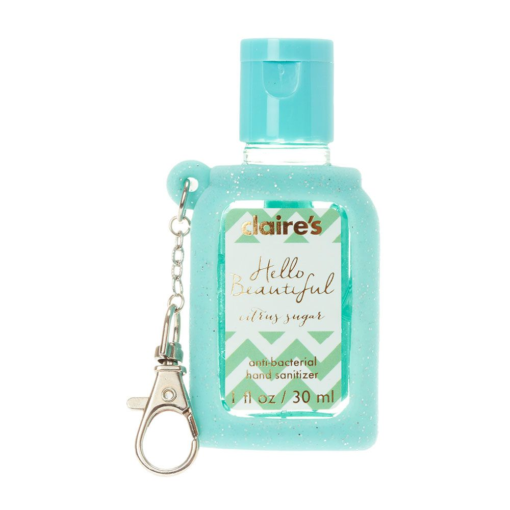 Mint Green Glitter Holder With Citrus Sugar Anti Bacterial Hand