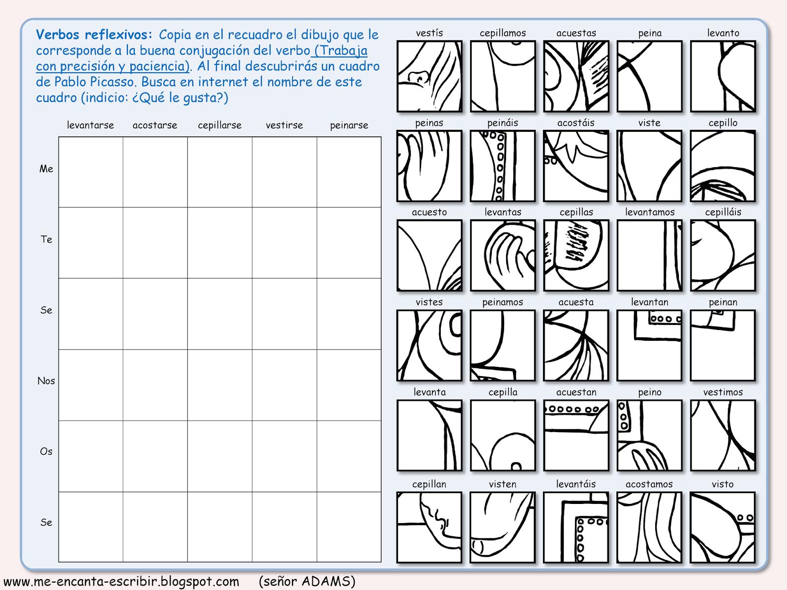 Me Encanta Escribir En Espanol Dibujo Conjugando Un Cuadro De Pablo Picasso Juego De Conjugacion Verbos Verbos Reflexivos Verbos Cuadros De Pablo Picasso [ 1200 x 1600 Pixel ]