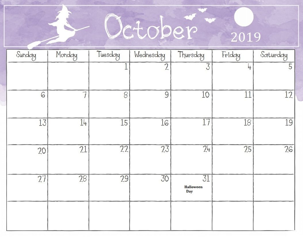 Halloween 2019 Calendar Printable October 2019 Halloween Calendar | Calendar 2018