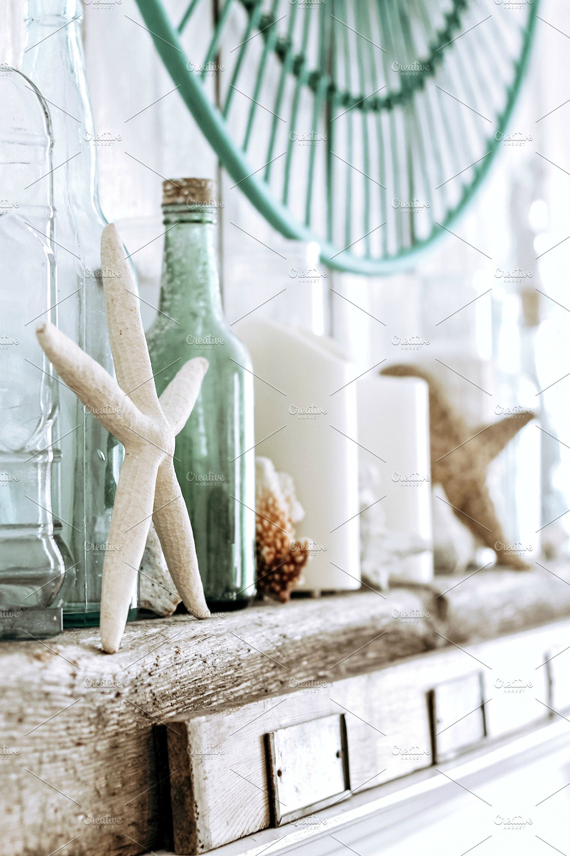 Ad Old Bottles And Starfish Display By The Wicker House On