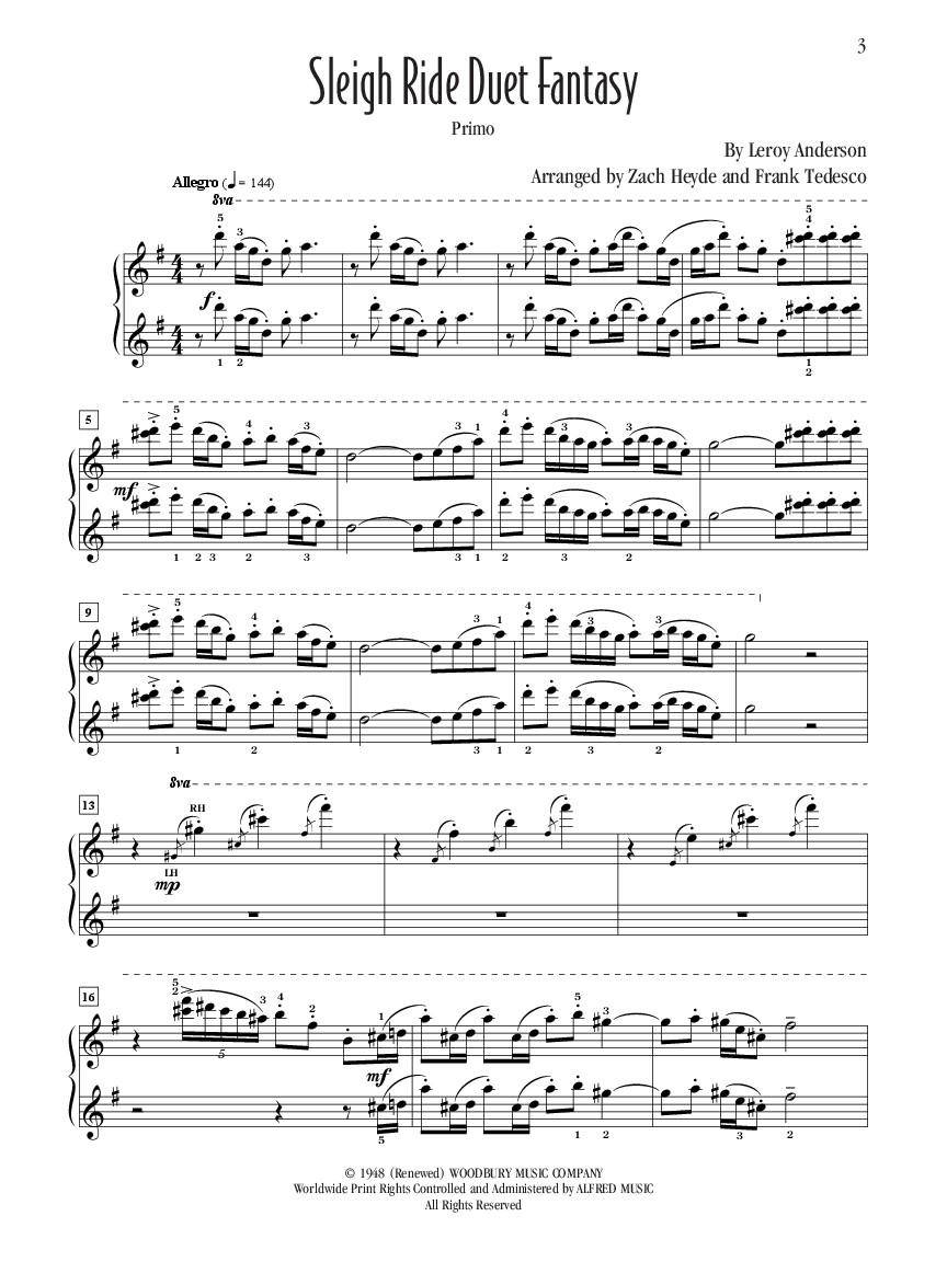 Sleigh Ride Duet Fantasy By Leroy Anderson Zac Jw Pepper Sheet