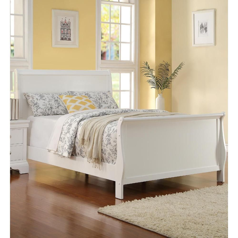 Full size Bed Wooden Finish, White (With images