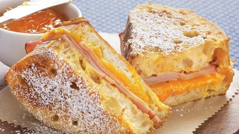Try classic French toast in a new way! This sweet-savory Bisquick® mix battered and toasted bread, ham and cheese sandwich makes a hearty breakfast or light brunch — ready in 15 minutes.