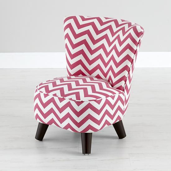 Bon The Land Of Nod | Kids Chairs: Pink Chevron Mini Chair In All Kid Seating