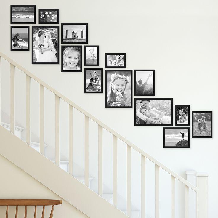 Bilderwand Treppenhaus – 15er Bilderrahmen-Set Modern Schwarz aus MDF