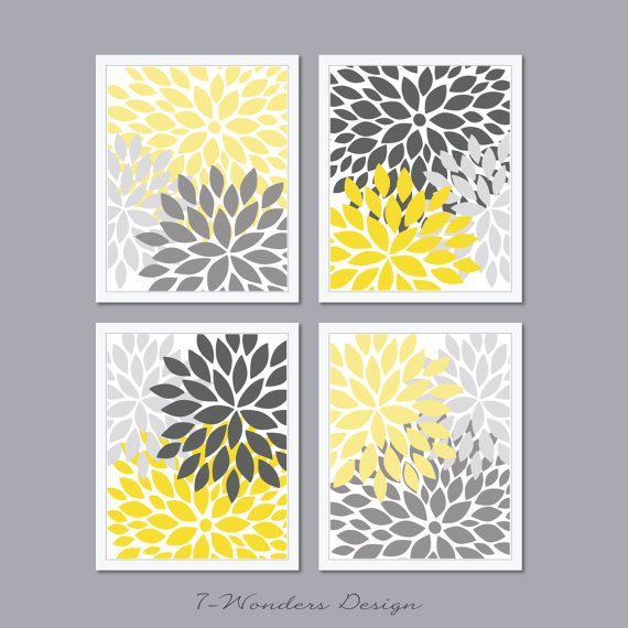 Grey And Yellow Walls: Modern Abstract Flower Bursts Set (4) 5 X 7, 8 X 10 OR 11