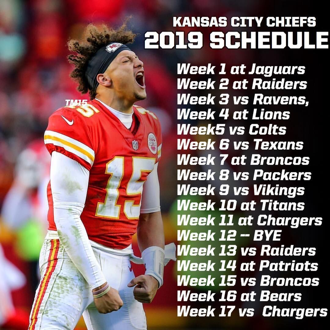Patrick Mahomes On Instagram Our 2019 Regular Season Schedule Chiefs Schedule Cheerleading Pictures Kansas City Chiefs