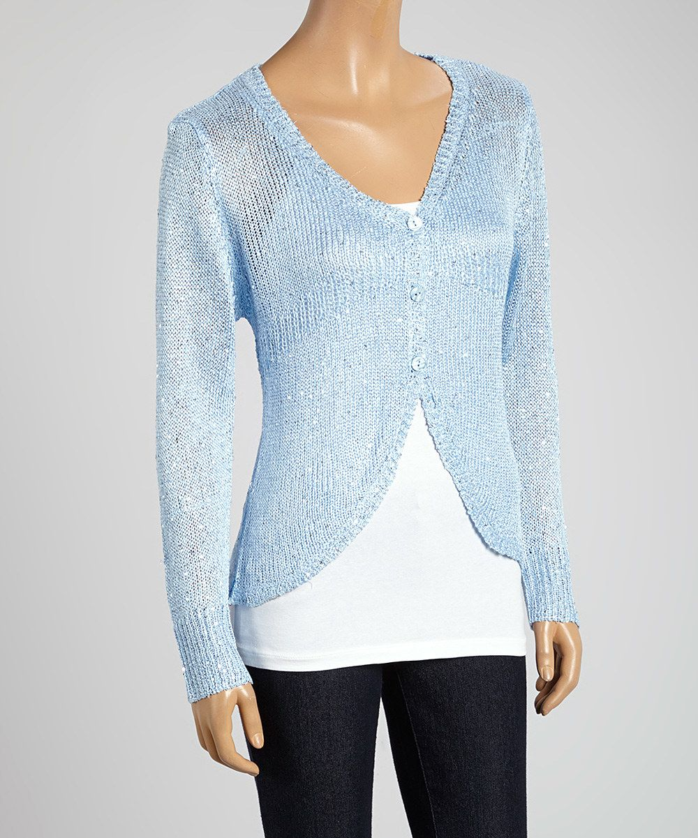 Look at this Sky Blue Sequin Cardigan on #zulily today! | Stitch ...