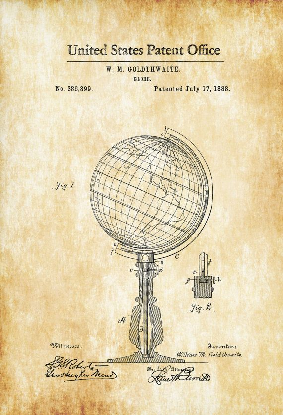 World Globe Patent 1888 - Patent Print Vintage Wall Art Living Room ...