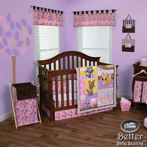 Trend Lab Baby Girl Pink Forest Animal Deer Fox Crib