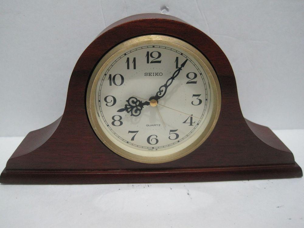 Seiko Table Clock Alarm Wooden Base Gold QQP294 B 23101C