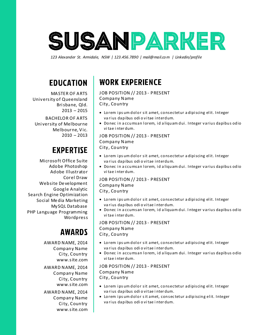 bold green modern resume template  with images